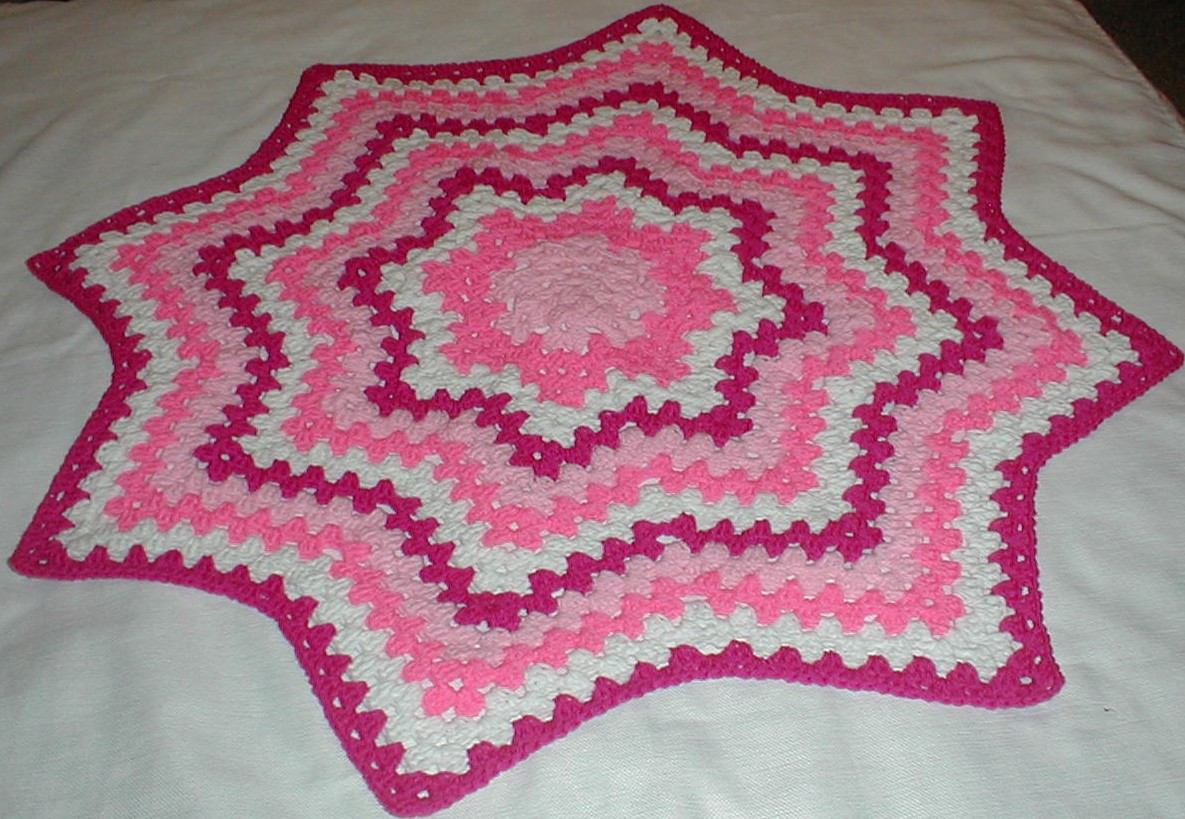Unique Karens Crocheted Garden Of Colors In the Pink Granny Crochet Round Baby Blanket Of Lovely New Hand Crochet Round Lacy Pink & White Baby Afghan Crochet Round Baby Blanket