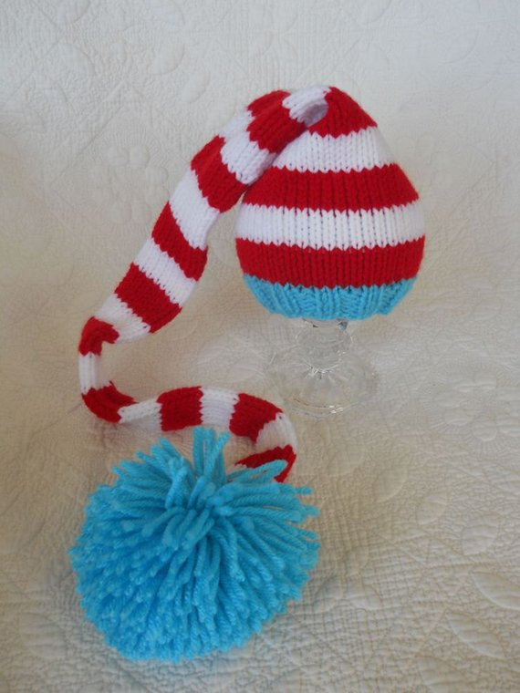 Knit Baby Hat Christmas Long Stocking Cap Elf by