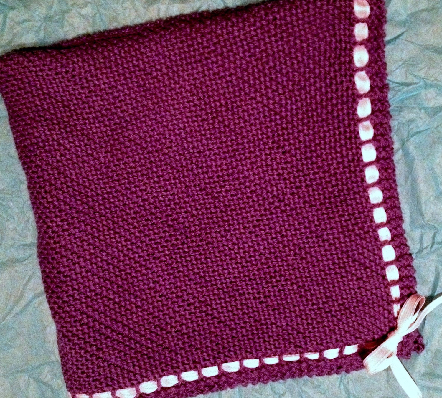 Knit Cotton Baby Blanket With Ribbon