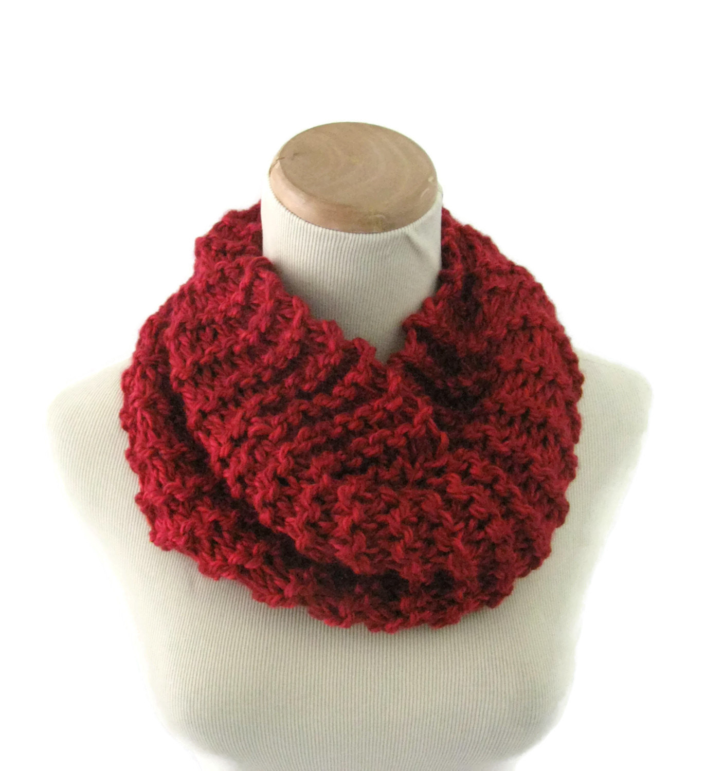 Knit Cowl Bulky Cowl Hand Knit Cowl Winter Scarf Red Cowl