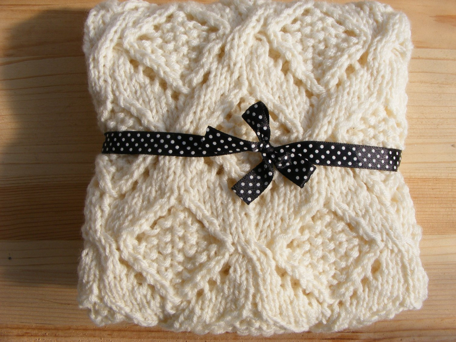 Knitted Baby Blanket Hand Knit Blanket Natural by Letricott