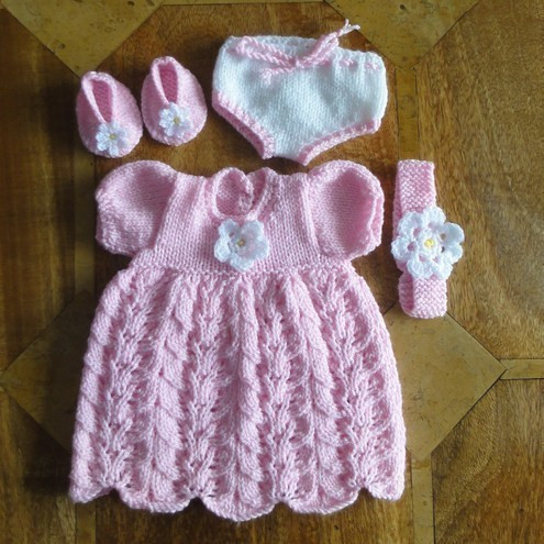 """Unique Knitted Dolls Clothes 16 18"""" E G Baby Folksy Knitted Baby Dress Of Brilliant 49 Photos Knitted Baby Dress"""