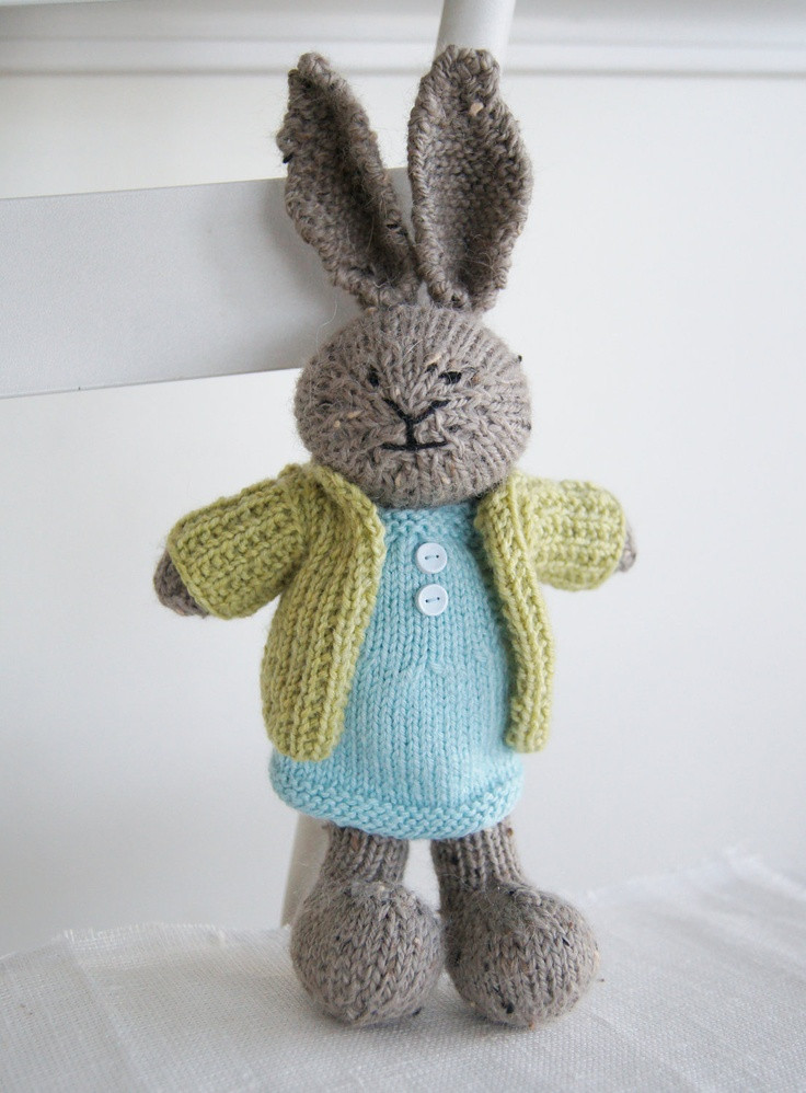 "Knitted Plush Bunny ""Charlotte"" Hand Knit Toy Rabbit"