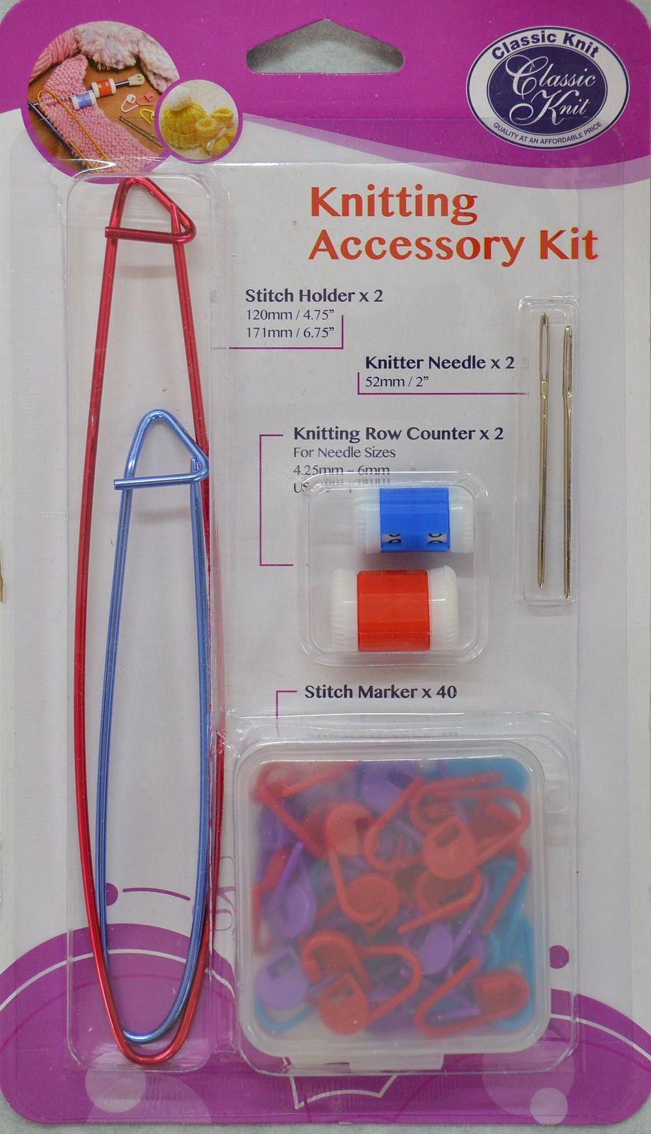 Knitting Accessory Kit Stitch Holders Row Counters