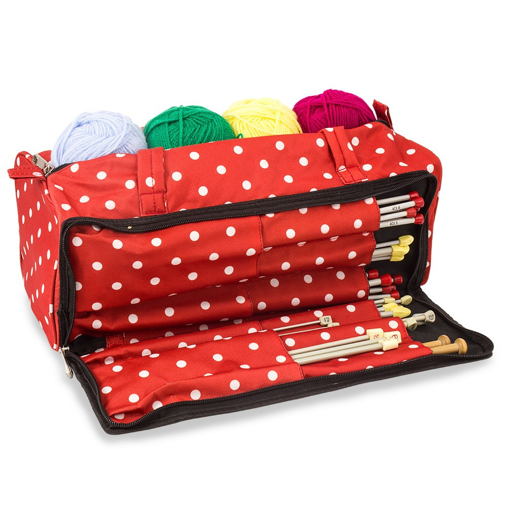 Knitting and Sewing Storage Bag Red Polka Dot Knitting