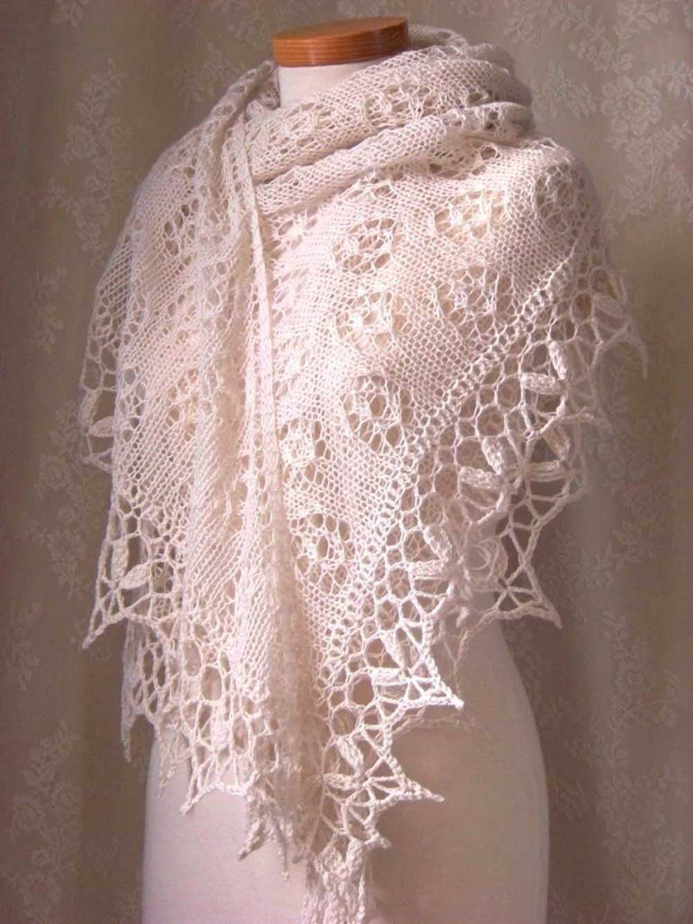 Unique Knitting Crochet Pattern Creme Lace Knitted Shawl with Crochet Lace Shawl Pattern Of Amazing 45 Models Crochet Lace Shawl Pattern