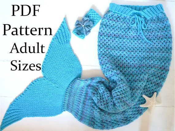 Unique Knitting Pattern Mermaid Tail Blanket for Adults 4 Sizes Mermaid Blanket Knitting Pattern Of Unique 42 Models Mermaid Blanket Knitting Pattern