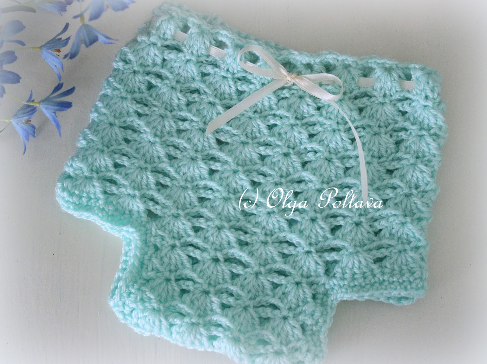shells and chains crochet diaper cover