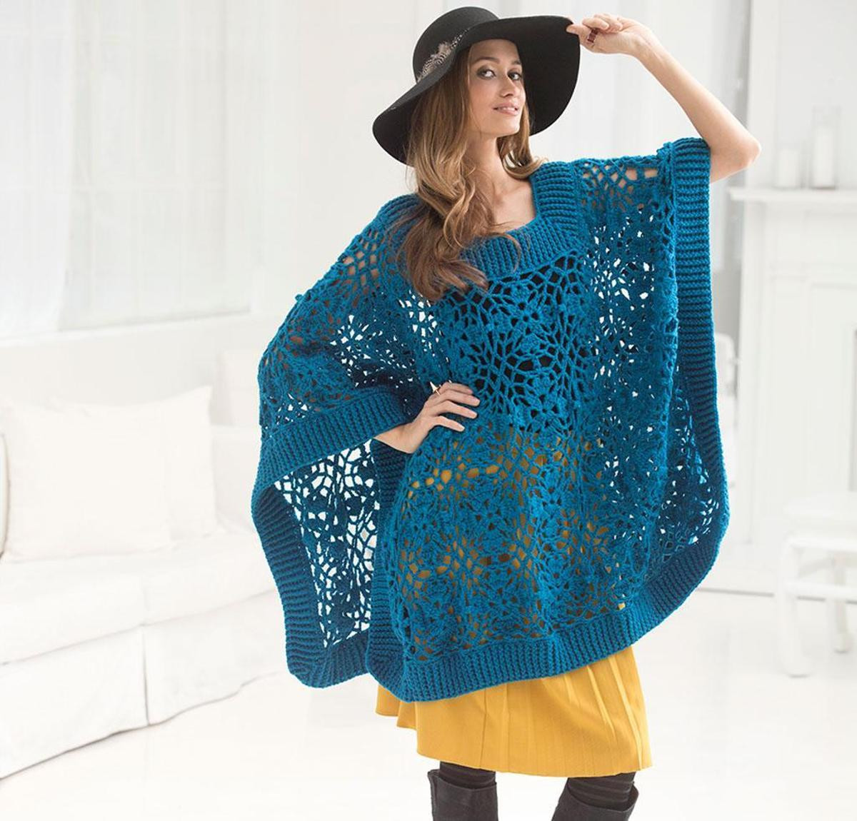 Lacy Poncho by Lion Brand Crochet Sweater Kit featuring