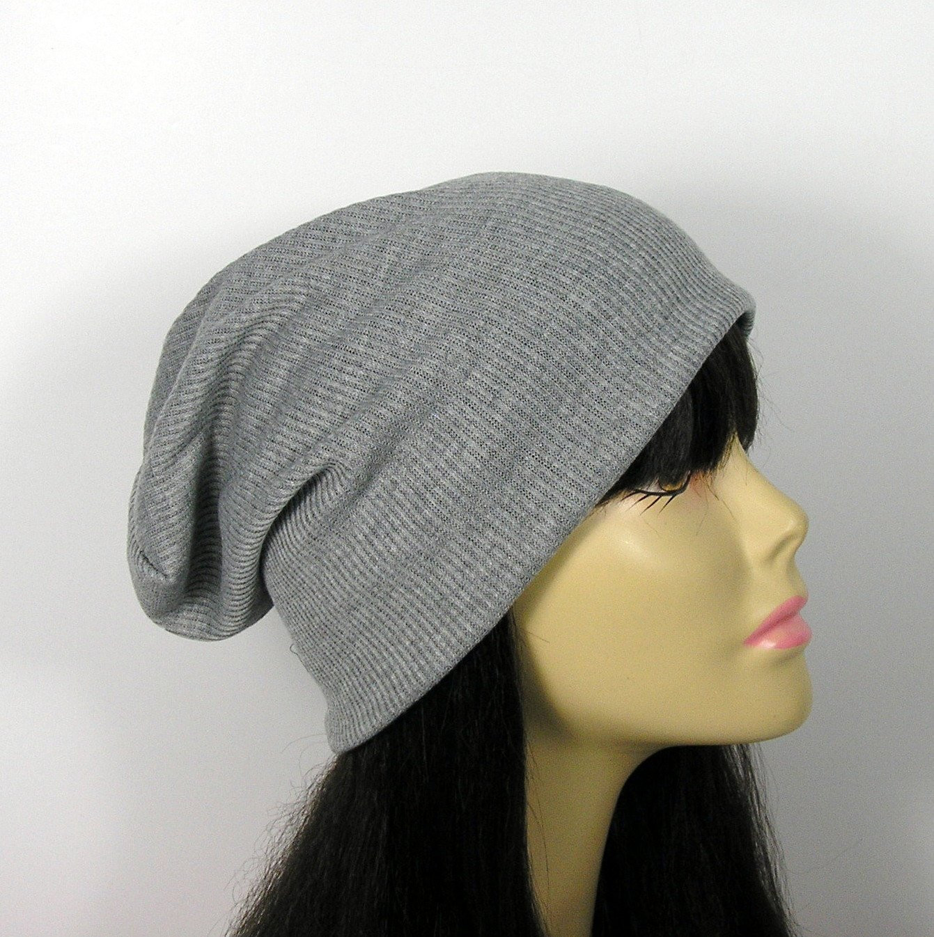 Lightweight Gray Rib Knit Slouch Hat Ribbed Slouchy Beanie