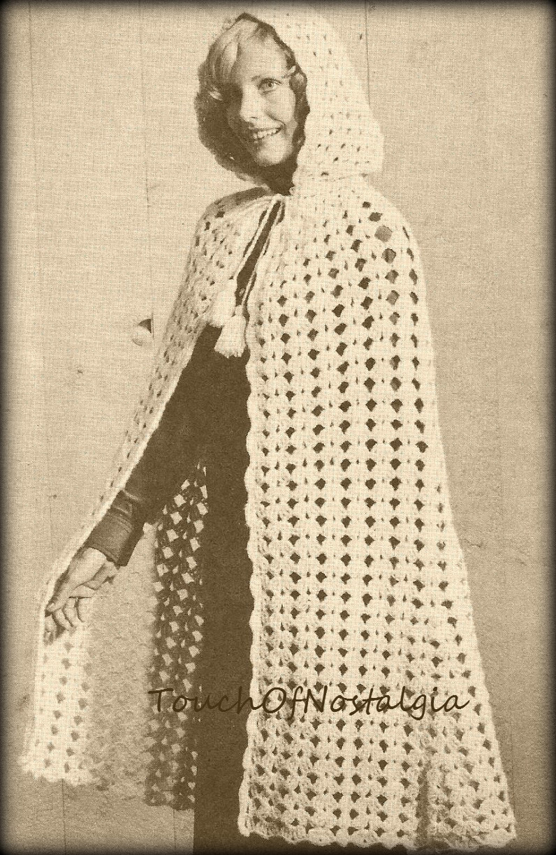 Long CAPE HOODED Vintage Crochet Pattern Long Cape With