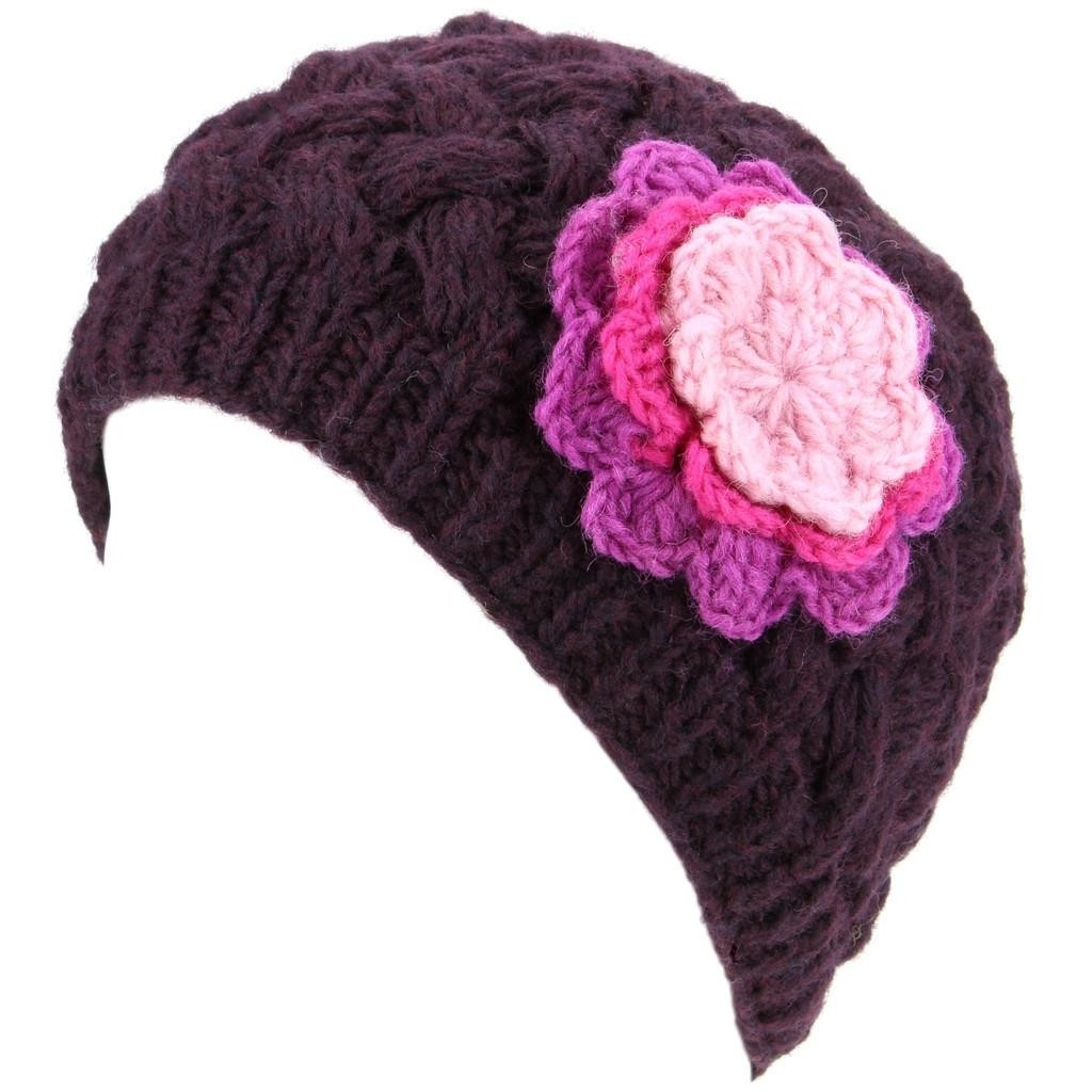 LoudElephant La s Wool Cable Knit Beanie Hat with