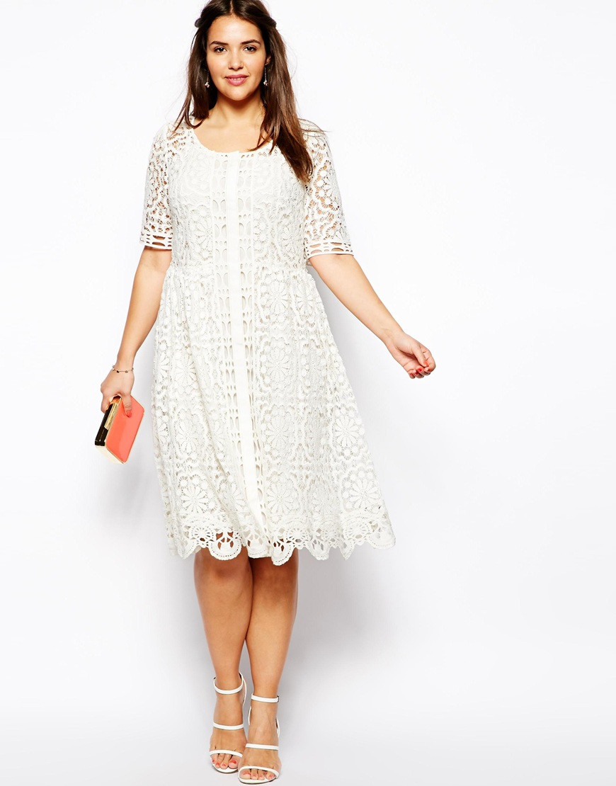 Lyst Asos Premium Lace Midi Dress in Crochet Lace in White