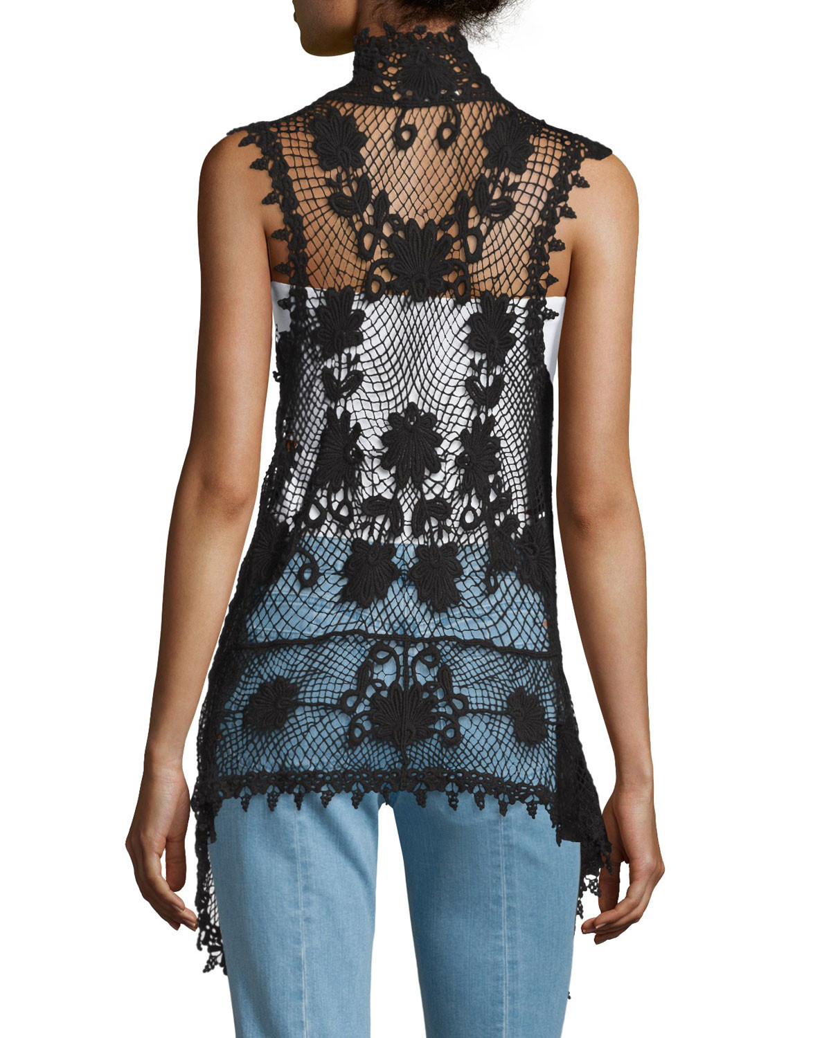 Lyst Liquid By Sioni Long Sleeveless Crochet Vest in Black