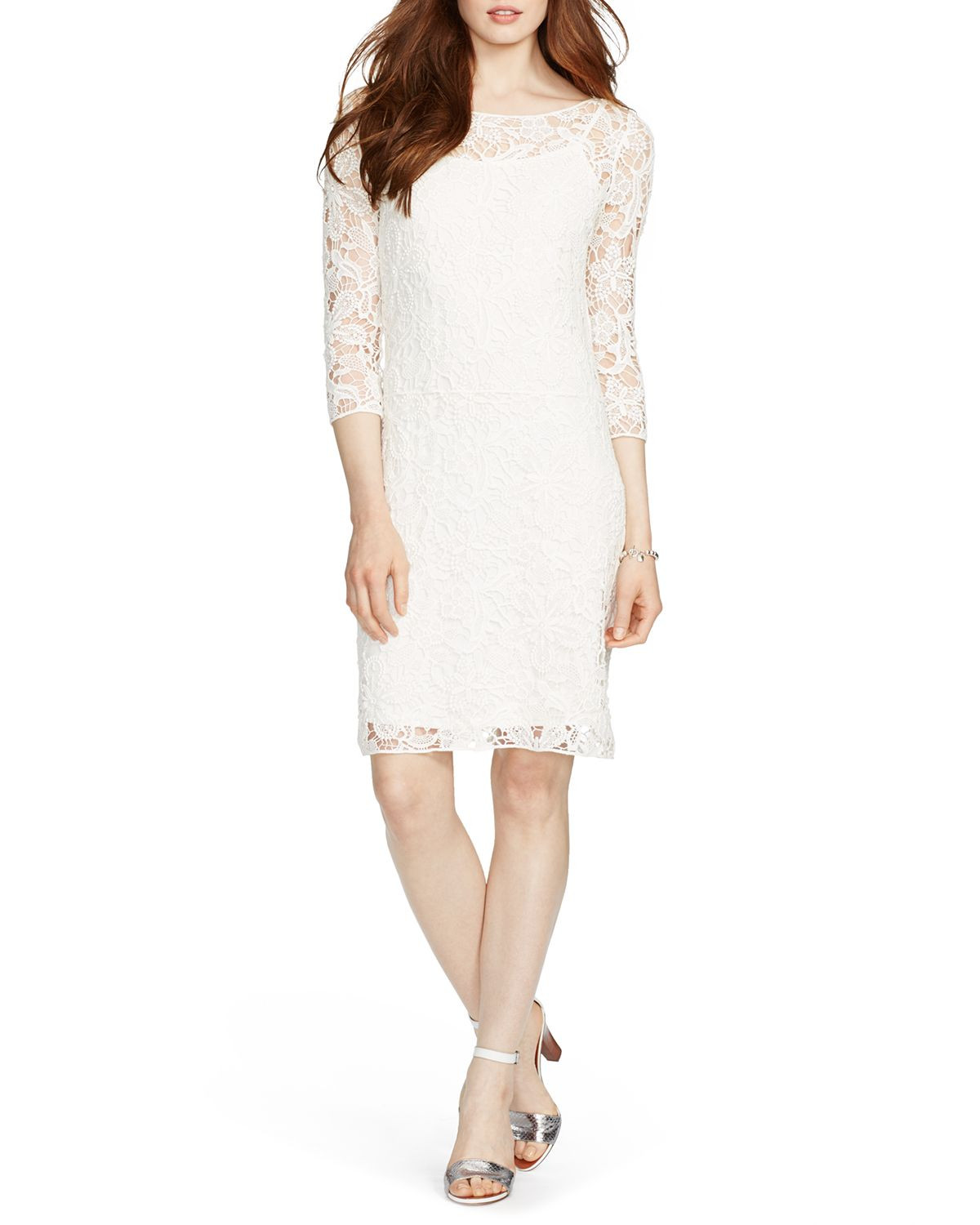 Unique Lyst Ralph Lauren Lauren Dress Crochet Lace In White Crochet Trim Dresses Of Attractive 47 Images Crochet Trim Dresses