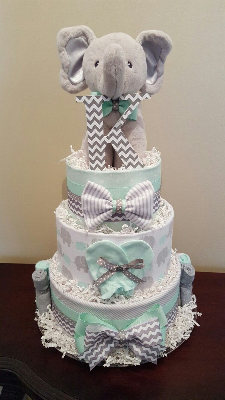 Unique Mint Green and Grey Elephant Diaper Cake Baby Shower Baby Diaper Cake Ideas Of New 48 Pictures Baby Diaper Cake Ideas