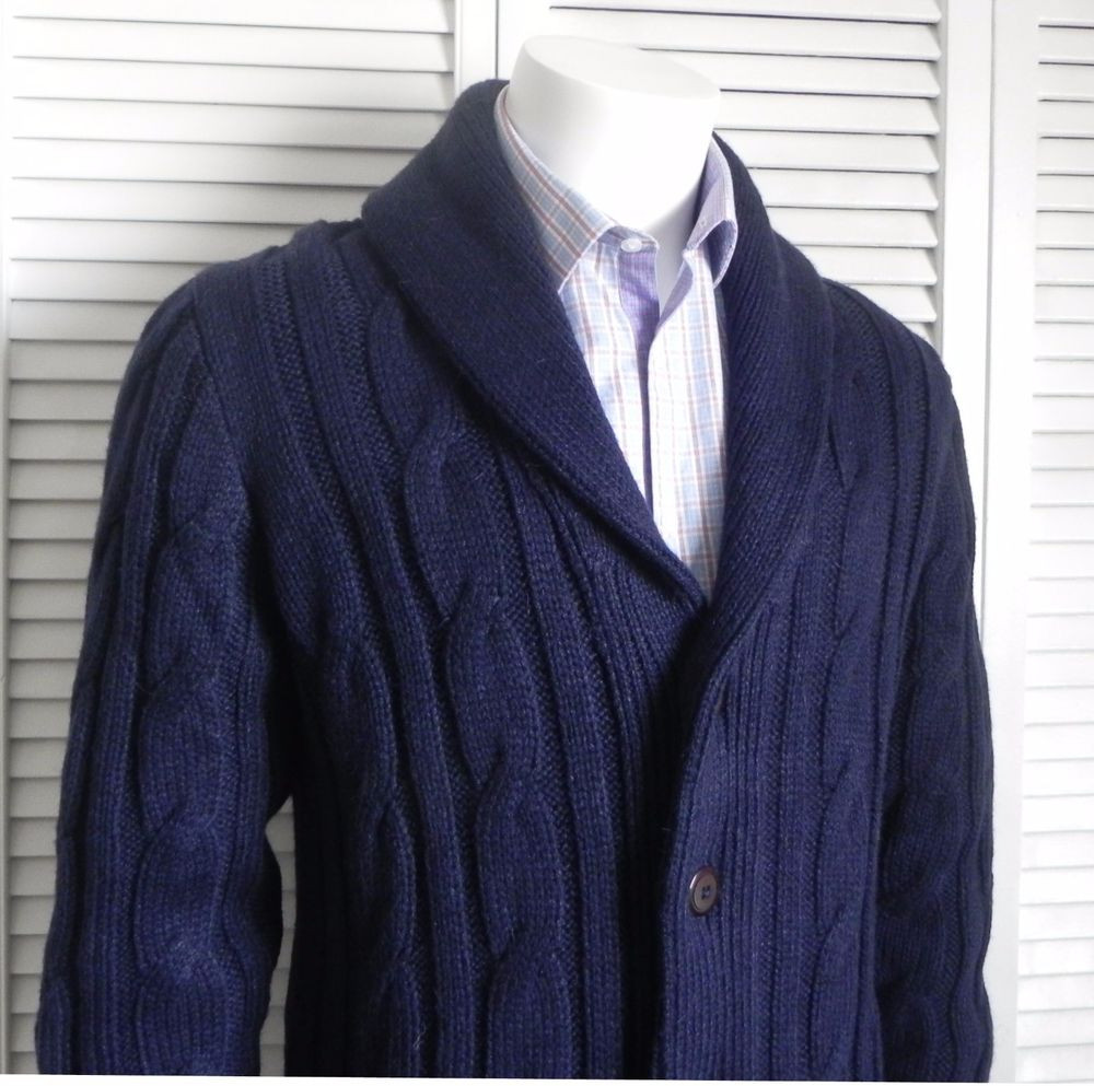 Unique New Mens Size 2xl Alpaca Navy Blue Shawl Collar Knit Cable Mens Cable Cardigan Of Top 48 Pics Mens Cable Cardigan