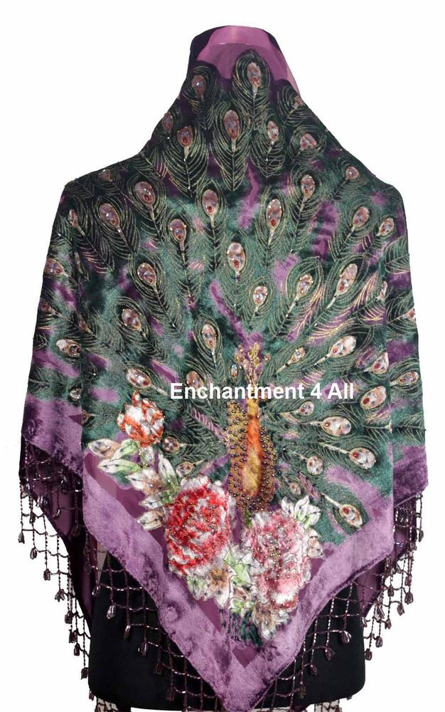 Unique New Stunning Beaded Triangular Silk Velvet Peacock Peacock Shawl Of Charming 44 Pictures Peacock Shawl