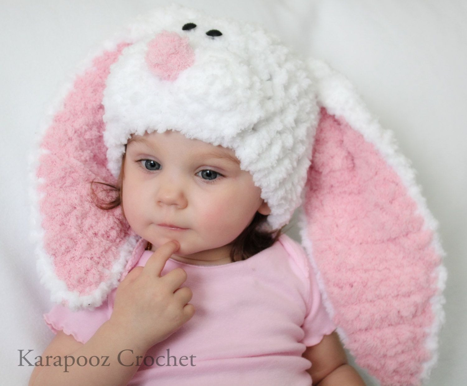 Newborn Baby Bunny hat with floppy ears crochet easter