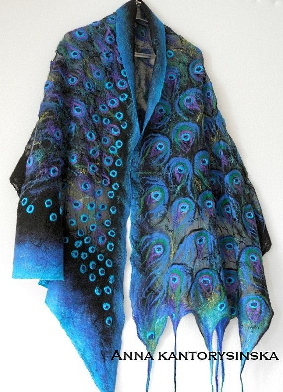 Unique Nuno Felted Silk Scarf Peacock Blue Eye Shawl Wrap Blue Peacock Shawl Of Charming 44 Pictures Peacock Shawl
