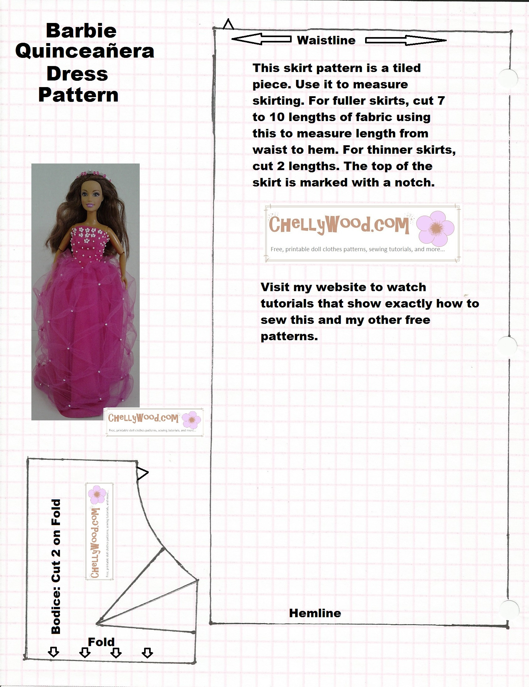 picture relating to Barbie Doll Clothes Patterns Free Printable known as Modern 50 Illustrations or photos Barbie Doll Clothing Styles