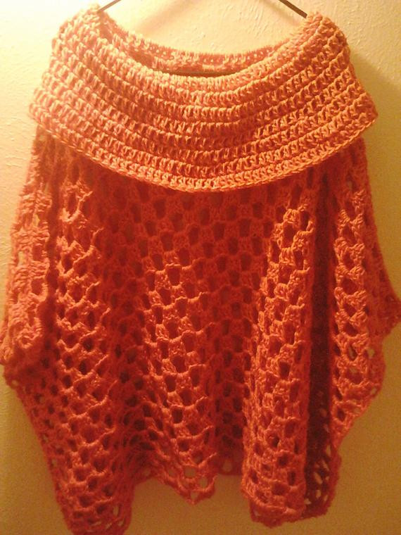OverSized Crochet Poncho Cowl Pullover Sweater