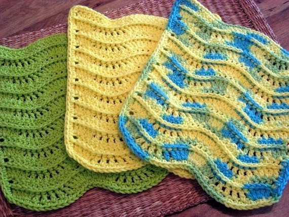 Unique Pdf Crochet Pattern 3 D Waves Textured Dishcloth Washcloth Crochet Dish Rags Of Top 42 Models Crochet Dish Rags