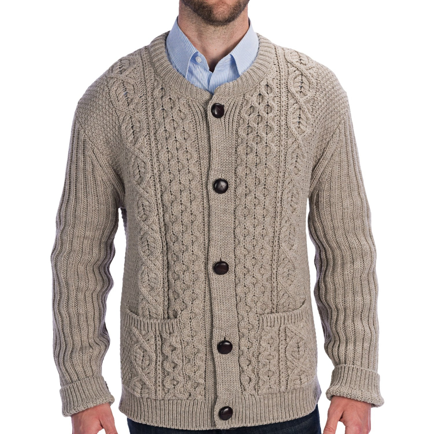 Peregrine by J G Glover Cable Knit Crew Cardigan Sweater