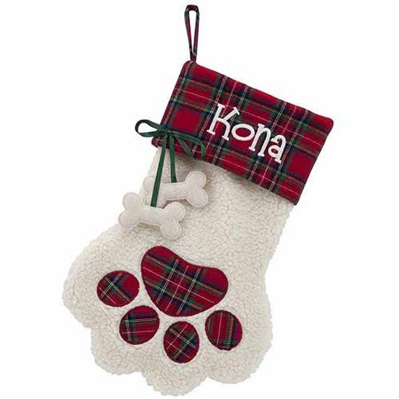 Unique Personalized Red Plaid Cuff Paw Dog Bone Christmas Dog Paw Stocking Of Charming 44 Ideas Dog Paw Stocking