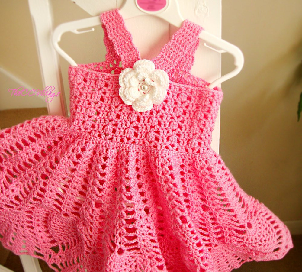 Pink Crochet baby dress Handmade girl dress White Flower