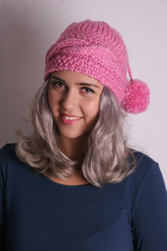 Pink Knitted Hat Knitted Beanie Cap Knit Hat Fashion