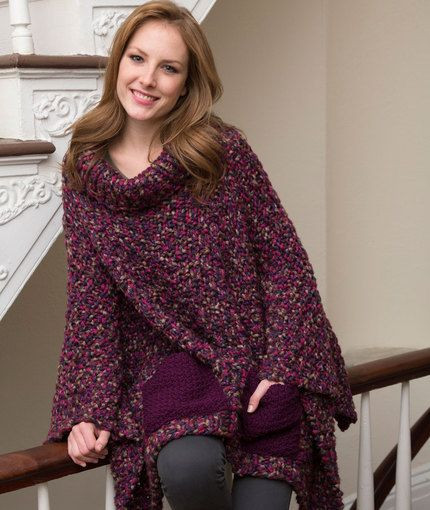 Pocket Poncho Free Knitting Pattern from Red Heart Yarns