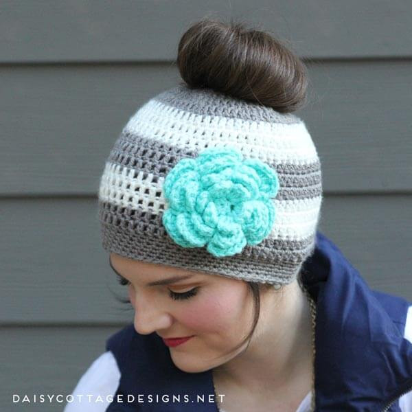 Ponytail Hat Crochet Pattern Messy Bun Hat Pattern Daisy