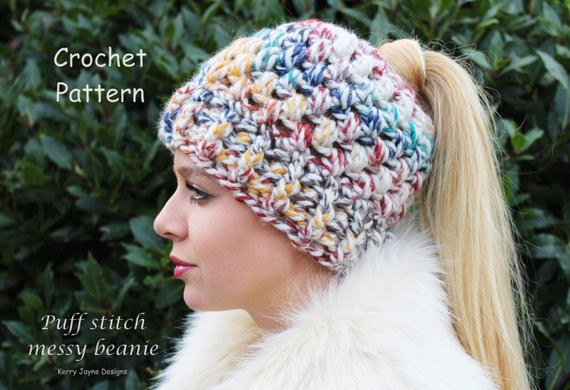 Unique Puff Stitch Messy Bun Beanie Crochet Pattern Pony Tail Hat Bun Beanie Crochet Pattern Of Charming 42 Pics Bun Beanie Crochet Pattern