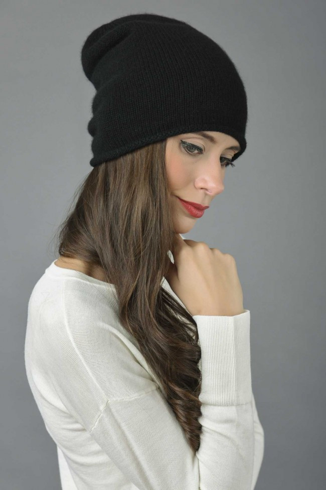 Unique Pure Cashmere Plain Knitted Slouchy Beanie Hat In Black Black Slouchy Beanie Of Great 40 Models Black Slouchy Beanie