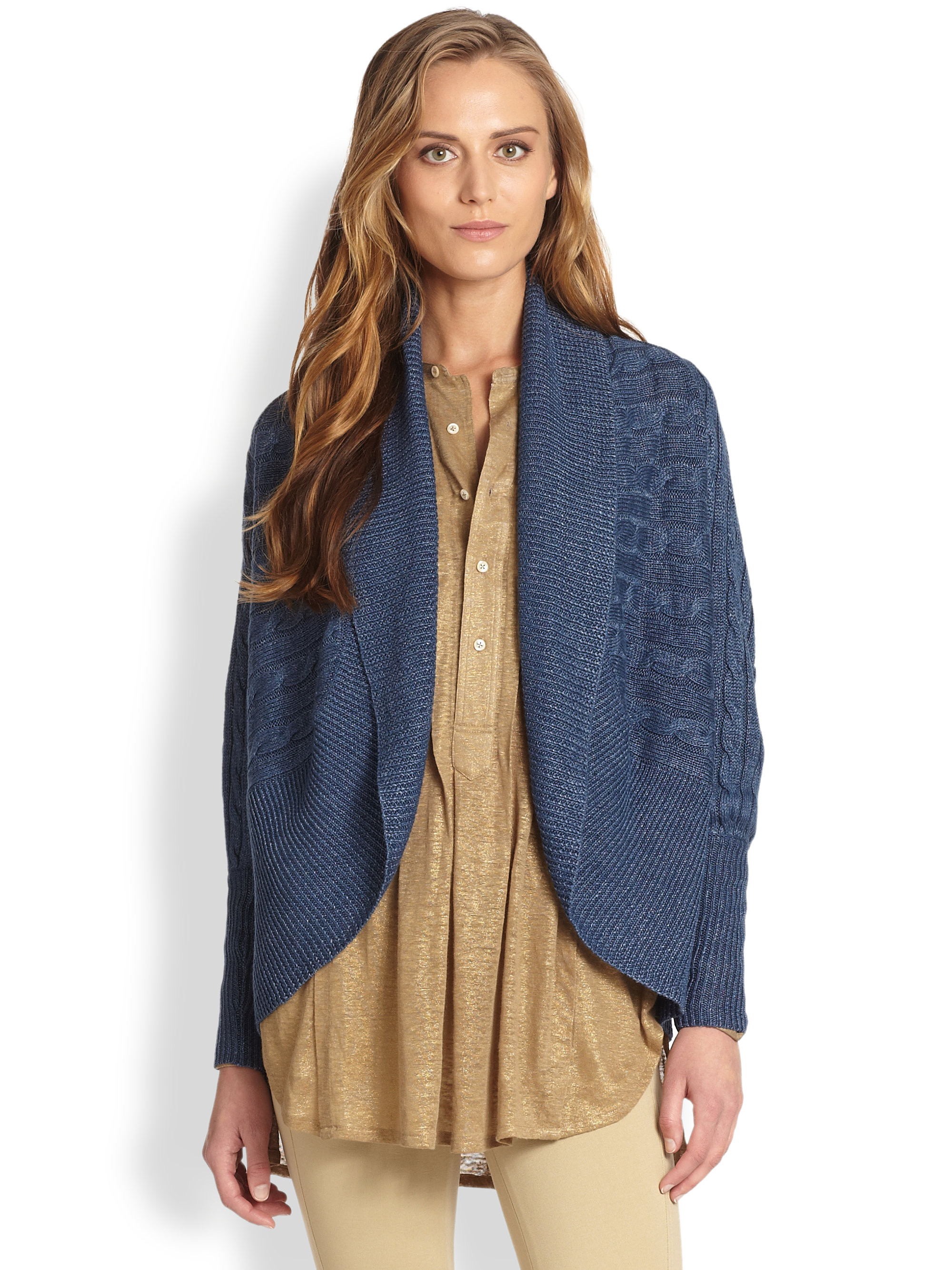 Unique Ralph Lauren Blue Label Cableknit Linen Circle Cardigan In Circle Cardigan Of Adorable 41 Ideas Circle Cardigan