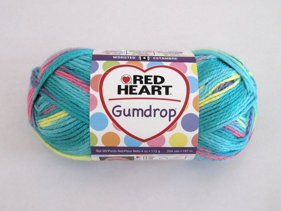 Red Heart Gumdrop Yarn Turquoise Pink Yellow Purple
