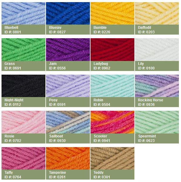 Red Heart Soft Yarn Color Chart to Pin on