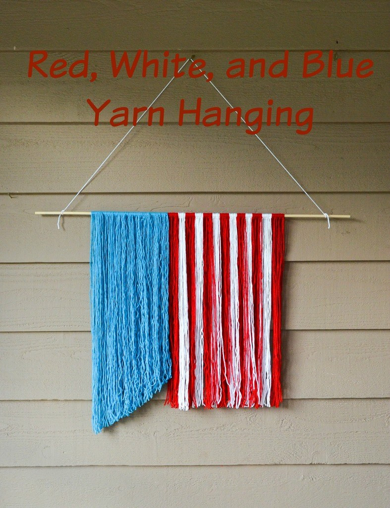 Red White and Blue Yarn Hanging