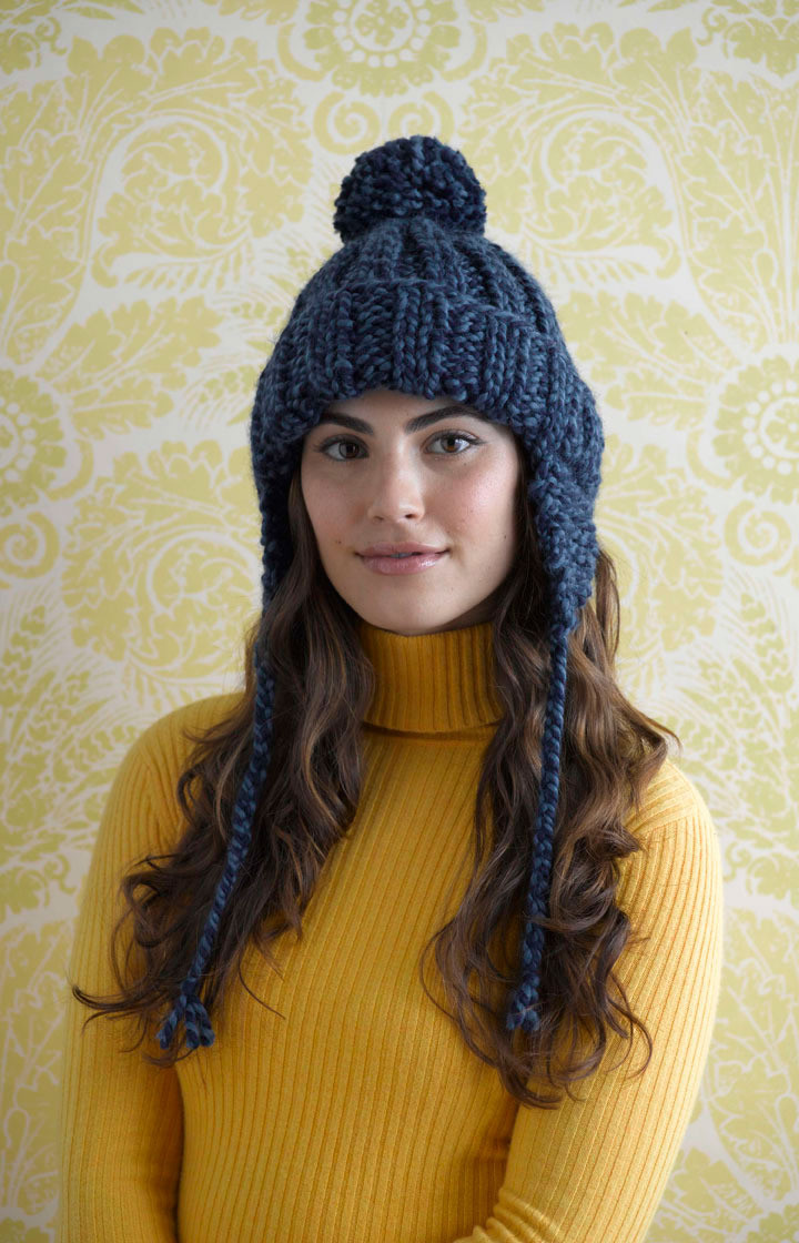 Ribbed Earflap Hat in Lion Brand Wool Ease Thick & Quick