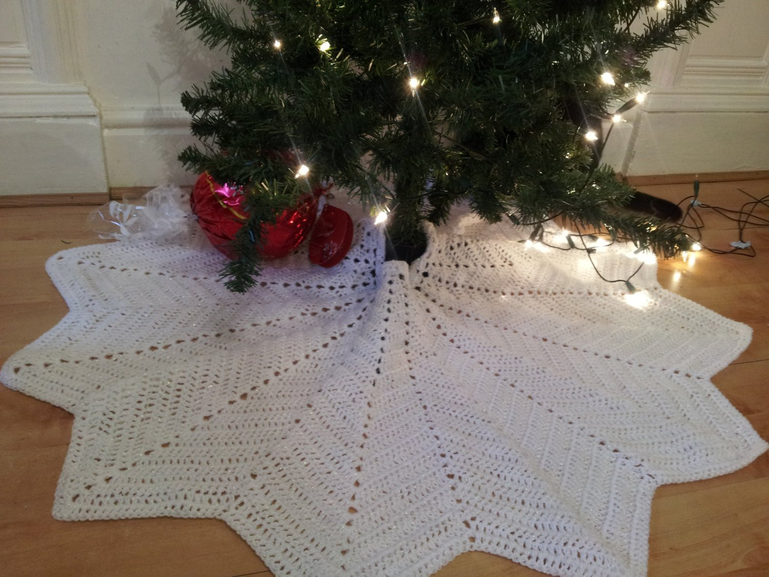 Snowflake Christmas Tree Skirt crochet tree skirt lace tree