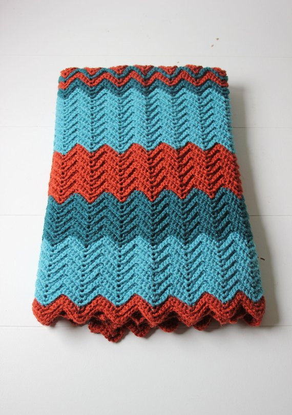 Unique Teal and Rust Crochet Lap Blanket Afghan Chevron Pattern Lap Blanket Crochet Pattern Of Delightful 44 Models Lap Blanket Crochet Pattern