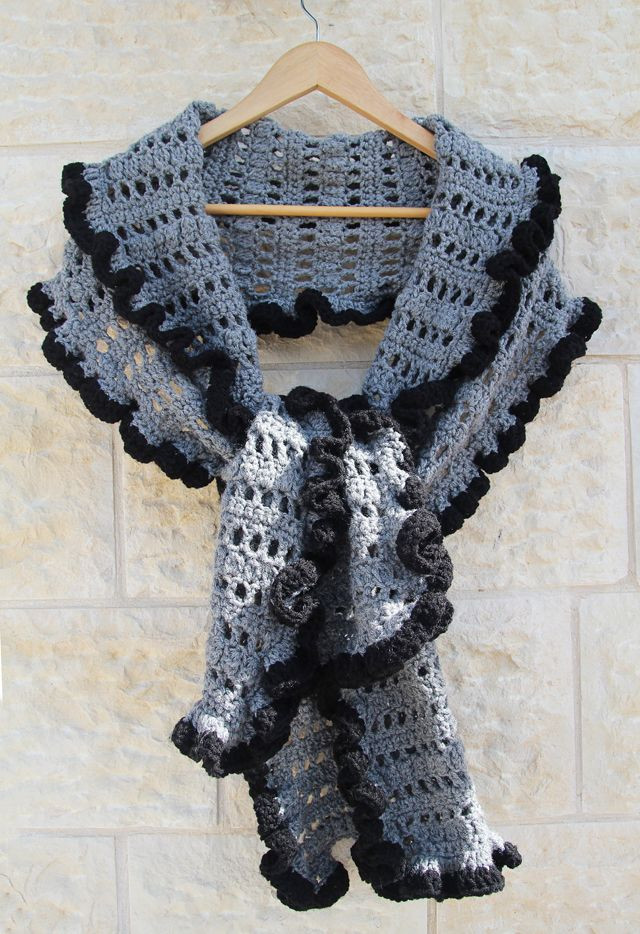 Unique the 25 Best Crochet Ruffle Ideas On Pinterest Crochet Ruffle Scarf Of Inspirational Firehawke Hooks and Needles Free Pattern Ruffle Scarf Crochet Ruffle Scarf