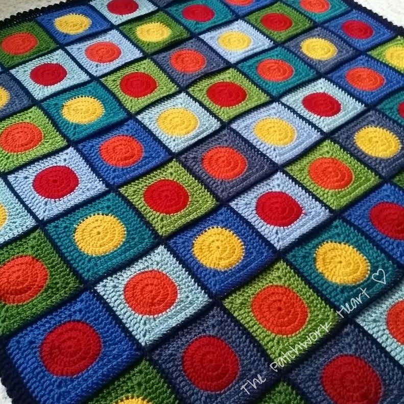 The Patchwork Heart Circles in Squares blanket