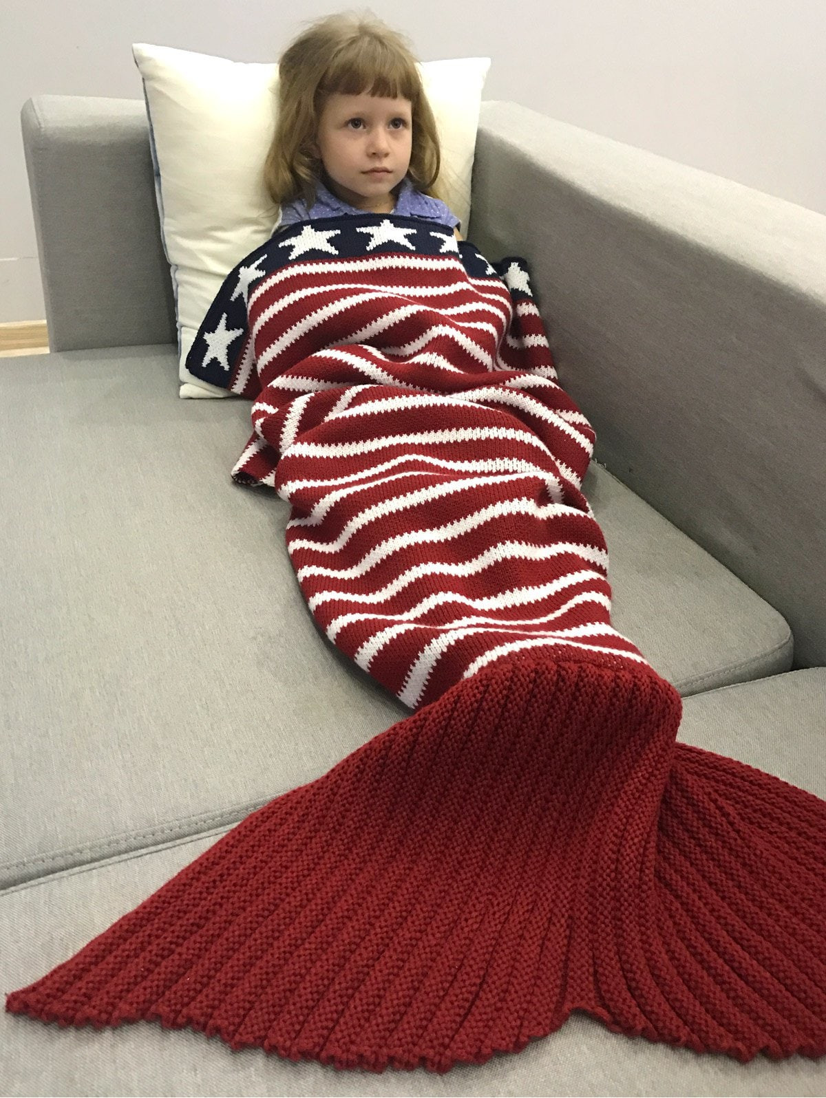 Thicken USA Flag Pattern Sofa Knitted Mermaid Blanket RED