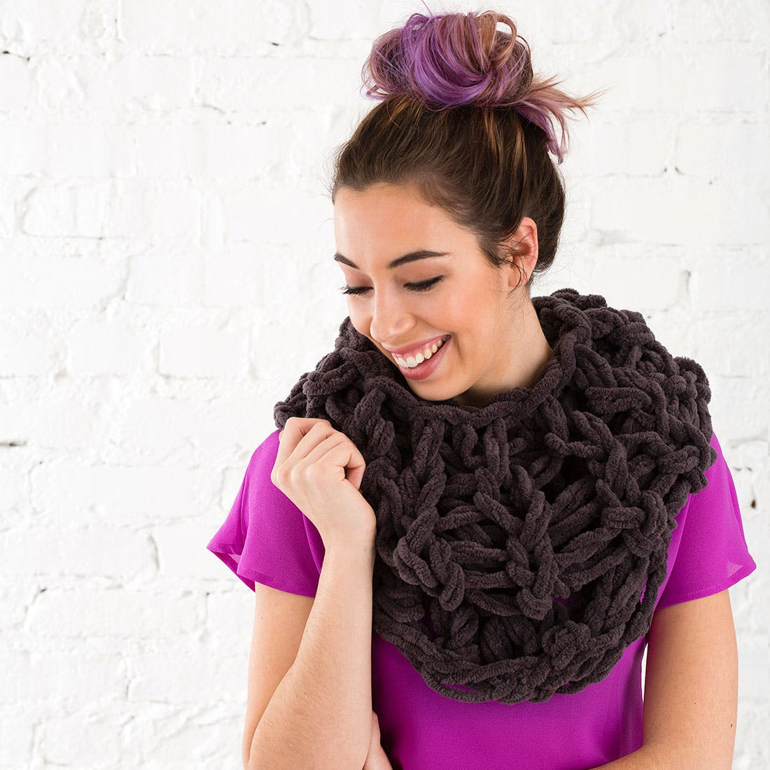 Unique Use Your Arms to Knit This Cozy Circle Scarf In Under 30 Knit Circle Scarf Of Brilliant 47 Photos Knit Circle Scarf