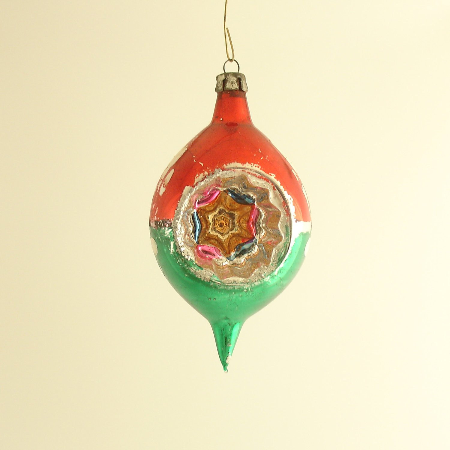 Vintage Christmas Ornament Glass Teardrop Indent