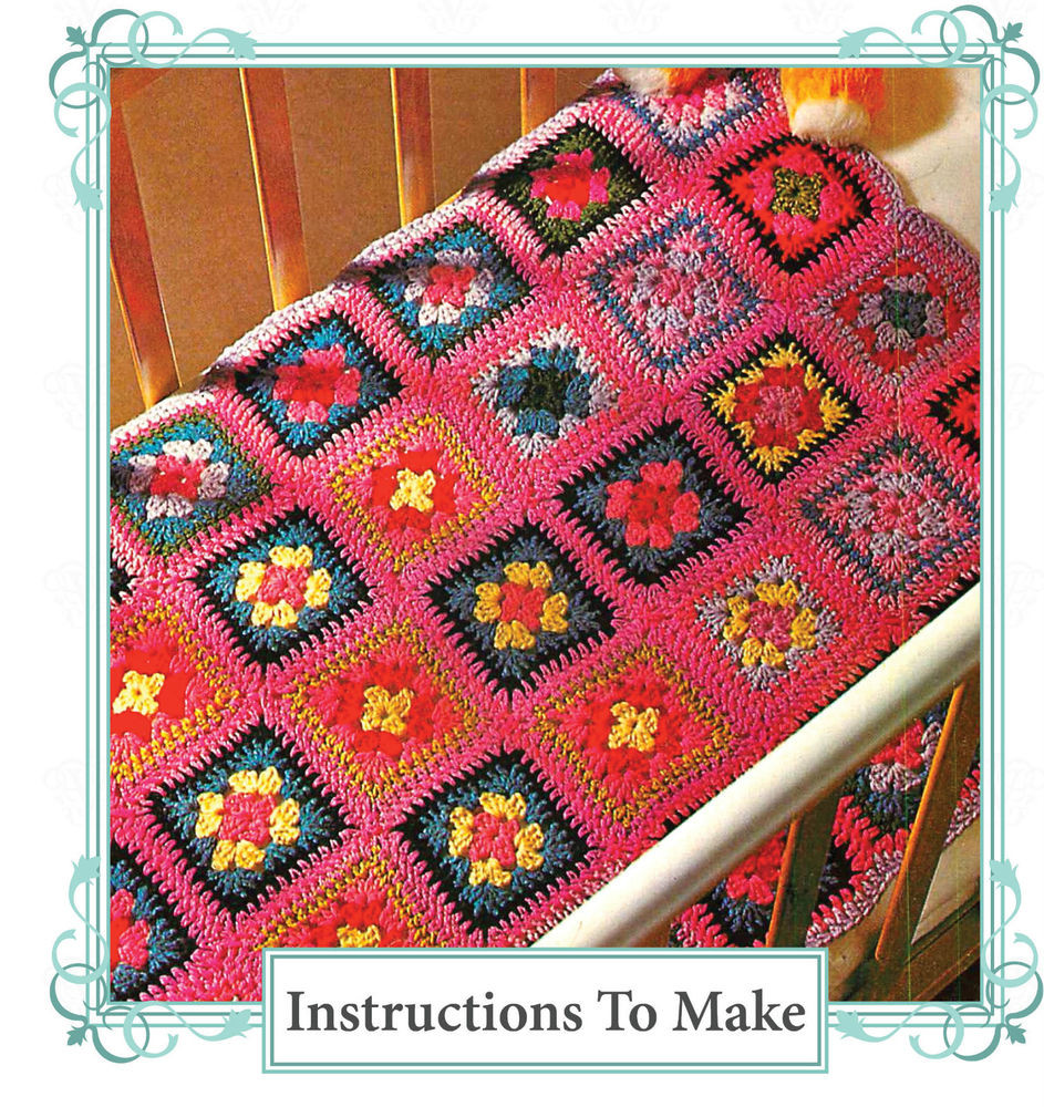 Vintage crochet pattern how to make an easy granny square