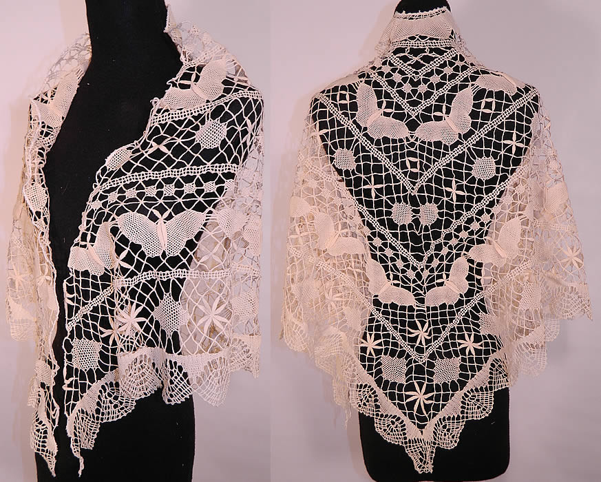 Unique Vintage Victorian Antique Cream Crochet Lace butterfly Crochet butterfly Shawl Of Great 41 Photos Crochet butterfly Shawl