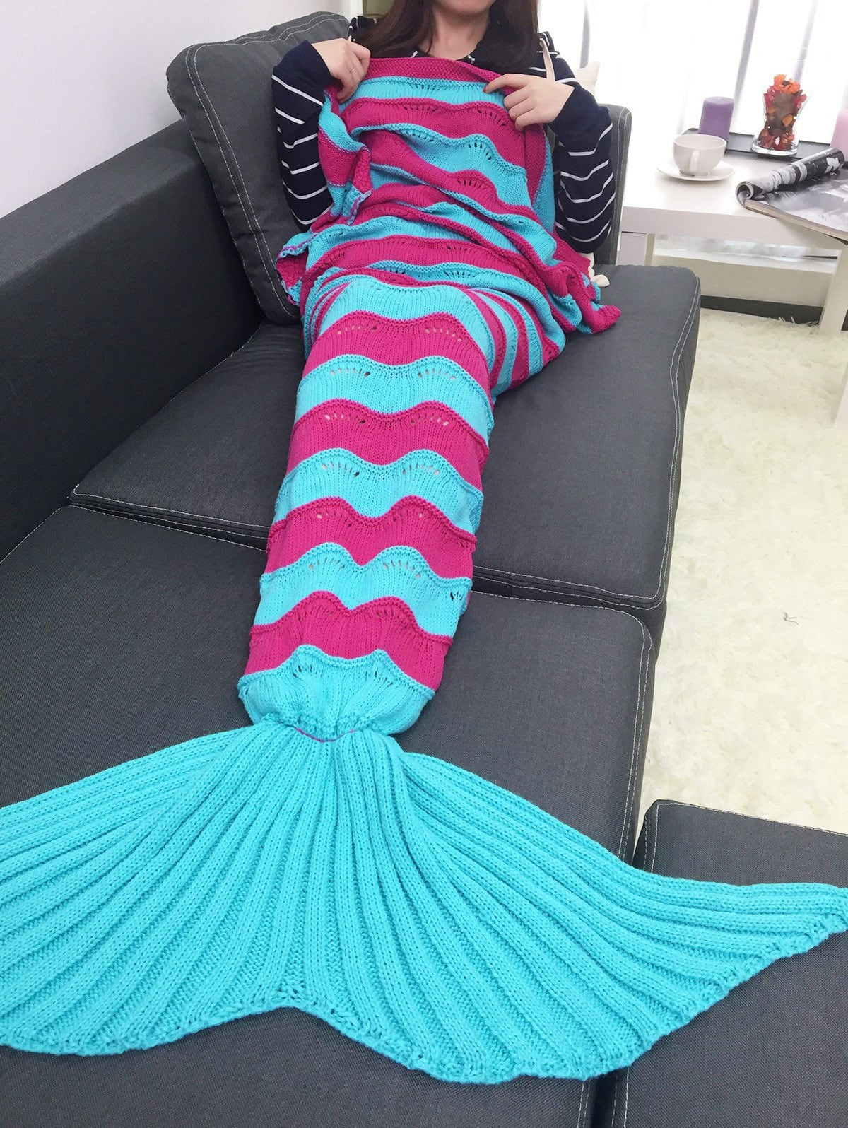 Warmth Stripe Multicolo Pattern Knitting Mermaid Tail